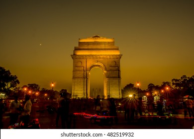 View of India gate at night, New Delhi, India.