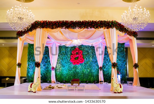 View Indian Marriage Stage Decoration Interiors Stock Photo (Edit ...