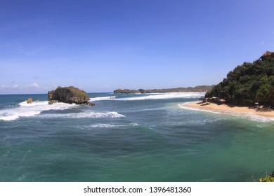 View of Indian ocean from coast line of Jogjakarta region.
