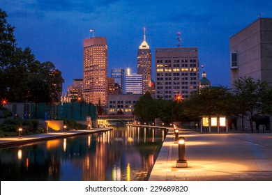 View of Indianapolis skyline from the Canal at night
