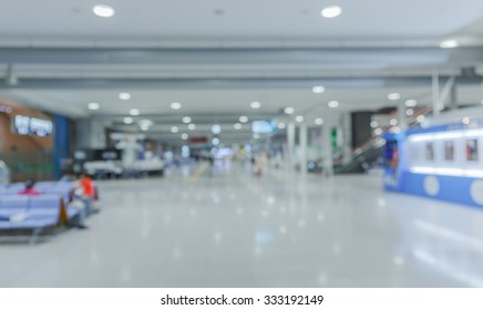 view indoor of Osaka airport blur and de-focus motion