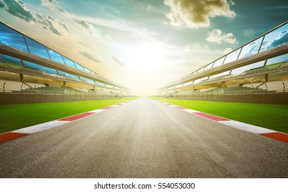 View of the infinity empty asphalt international race track, digital imaging retouch and  montage background . evening scene .