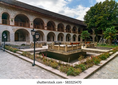 View of the inner courtyard of Upper caravanserai is a historical monument in Sheki 18th-19th centuries. Azerbaijan