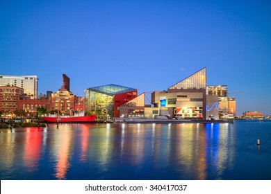 View of Inner Harbor area in downtown Baltimore Maryland USA