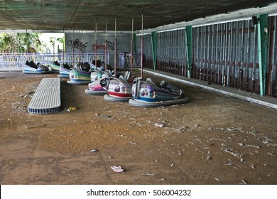 A view inside the abandoned New Orleans Six Flags that was destroyed by hurricane Katrina