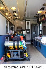 View of the inside of an ambulance,