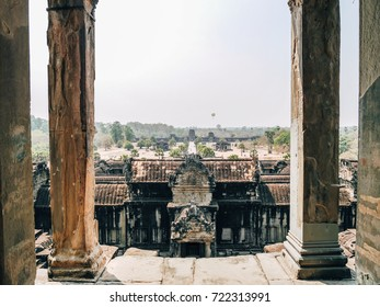 View from inside Angkor Wat towards the main gate, Siem Reap, Cambodia