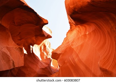 View inside Antelope Canyon, colorful rock formation, sunny desert, Page, Arizona, United States