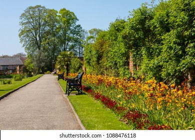 A view inside the beautiful Colchester Castle Park in the historic town of Colchester, Essex, UK.