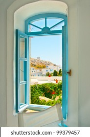 View from inside from a beautiful traditional house in Chora the Capital of Amorgos island in Greece
