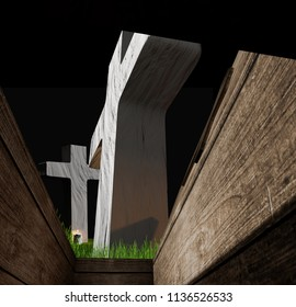 view from inside of a buried coffin in a grave on a graveyard 3d-illustration