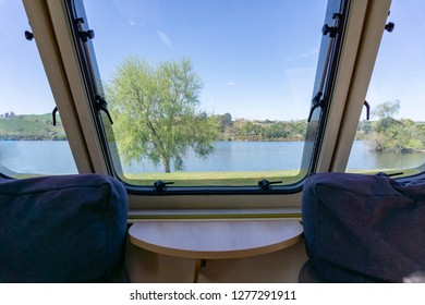 View from inside caravan travel trailer