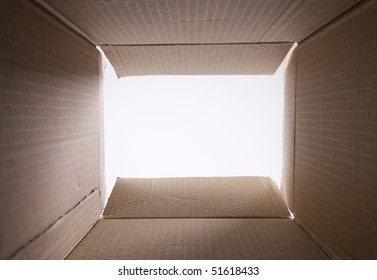 view from inside a cardboard box with copy space