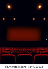 View inside the cinema on the screen and seats before the movie starts