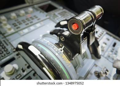 a view inside the cockpit of an airliner