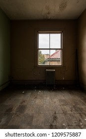 A view inside a derelict room in an abandoned hospital near Boston, Massachusetts.