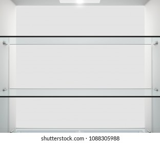 A view from inside an empty household fridge or freezer looking out the open door - 3D render