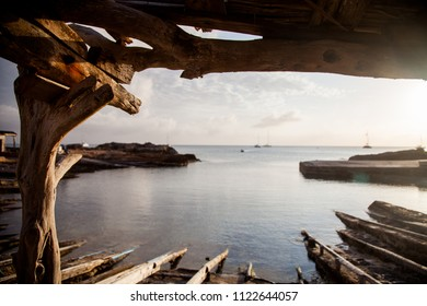 A view from inside of a former fishing port on an island in the Mediterranean Sea