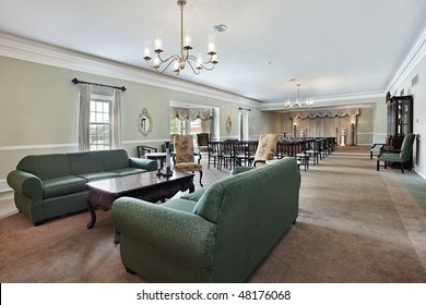 View inside funeral home with couches and chairs