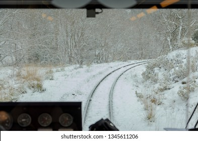 View from inside the funicular train of Odontotos in Kalavryta Greece