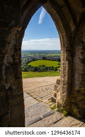 The view from inside the historic St. Michaels Tower ontop of Glastonbury Tor in Somerset, UK.