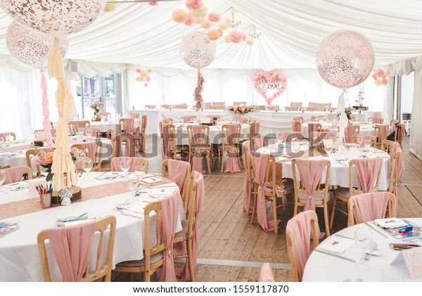 View Inside Marquee Set Wedding Reception Stock Photo (Edit Now ...