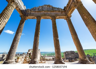 View from the inside of a temple in the ancient Roman ruins of Dougga in Tunisia