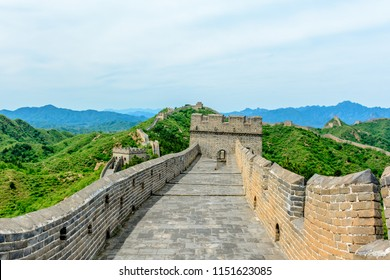A View of the Inside Top of The Great Wall of China as it Bends its way through the Jinshanling Mountains