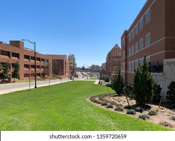A view from inside of the University of Tennessee campus in Knoxville, Tennessee.