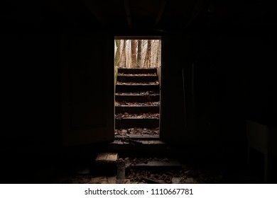 View from inside a very dark basement towards the exit. Centered.