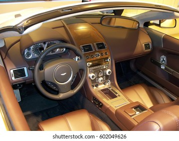 View of the interior of a modern automobile showing the dashboard. Aston Martin DB9 Volante. Ukraine, Kiev. 5 March 2011; Editorial photo.