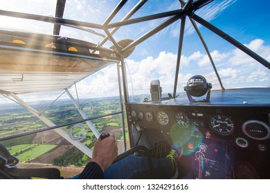 view of the interior of an ultralight while flying