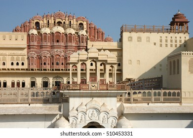 View of the internal buildings Hawa Mahal or Palace of the Winds in the city of Jaipur, Rajasthan region in India
