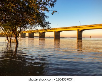 A view of the International Bridge on the border between Brazil and Argentina at sunset (Uruguaiana, Brazil)