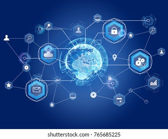 View of a International business network connection displayed on a futuristic interface with technology icon and sphere globe - Worldwide business concept