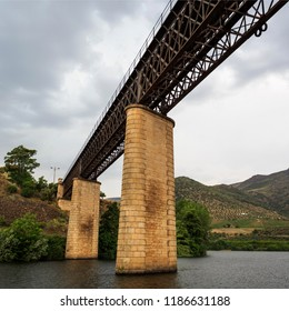 View of the international railway bridge over the Agueda River, connecting Portugal to Spain and now deactivated since 1985, in Barca de Alva, near the Spanish border, Portugal