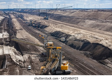 View into an active open pit lignite mine near Cottbus, Brandenburg. The lignite is mined with the help of huge bucket wheel excavators.