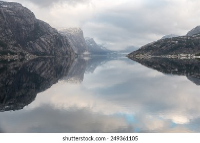 View into beautiful Norwegian Lysefjord on a cold and cloudy winter day