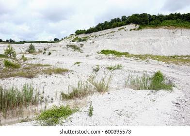 view into chalk rock quarry mine.