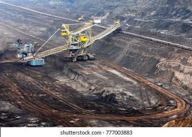 View into a coal mine with working weel excatator