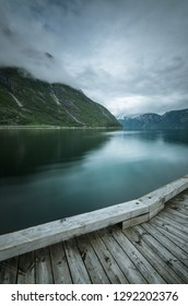 View into the fjord from the wooden pier, Eidfjord, Norway
