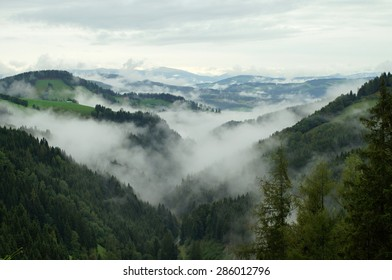 View into a foggy valley