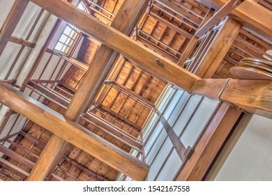 View up into roof space of traditional Japanese wood-built warehouse building, Kanazawa city, Ishikawa Prefecture, Japan.
