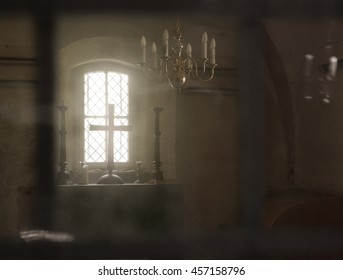 View into a sacristy through glass door