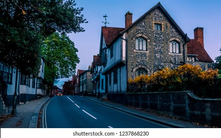 A view into the town of Sudbury, Suffolk