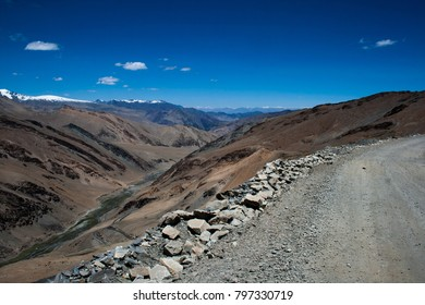 A view into a valley from a highway in Ladakh, India.