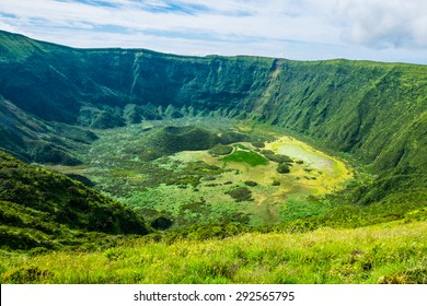 View into volcanic crater, Calderia do Faial, Faial island, Azores