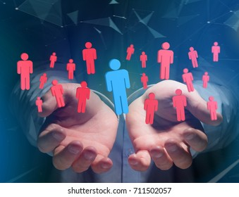 View of a Intruder in a group of network people - Business and contact concept