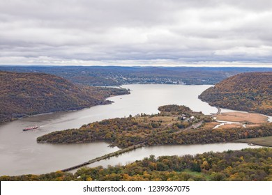 View of Iona Island and the Hudson River from atop Bear Mountain.
