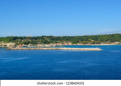 A view from the Ionian Sea of the Katakolon Olympia Greece coastal town and cruise Port of Call on a sunny summer day
